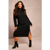 Womens Recycled Roll Neck Rib Side Split Tunic - black - 24, Black