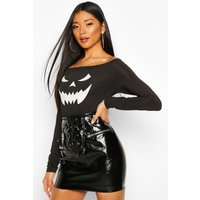 Womens Halloween Face Print Off The Shoulder Top - black - L, Black