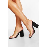 Womens Block Heel Clear Peeptoe Mules - black - 8, Black