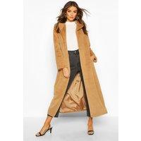 Womens Longline Faux Fur Coat - beige - 8, Beige