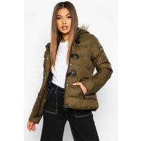 Womens Short Quilted Puffer Jacket - green - 10, Green