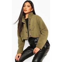 Womens Crop Fleece Puffer Jacket - green - 12, Green