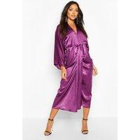 Womens Velvet Satin Batwing Midaxi Dress - purple - 8, Purple