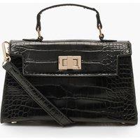 Womens Croc Mini Lock Cross Body Bag - black - One Size, Black