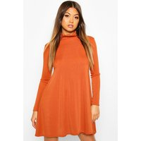 Womens Rib Roll Neck Swing Dress - Orange - 14, Orange
