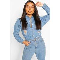 Womens Distressed Denim Shirt - blue - 8, Blue