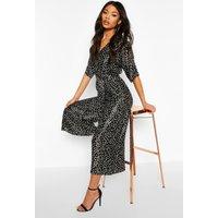 Womens Polka Dot Kimono Sleeve Belted Culotte Jumpsuit - black - 14, Black