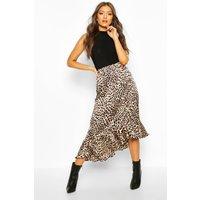 Womens Leopard Print Ruffle Hem Skirt - beige - 8, Beige