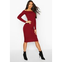 Womens Jumbo Ribbed Off The Shoulder Midi Dress - red - 10, Red