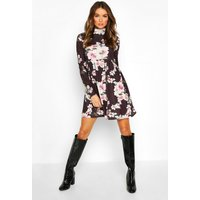 Womens Funnel Neck Floral Jersey Smock Dress - Black - 8, Black