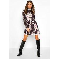 Womens Funnel Neck Floral Jersey Smock Dress - black - 16, Black