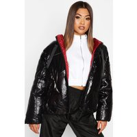 Womens Oversized High Shine Puffer Jacket - black - L, Black
