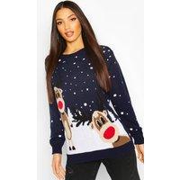 Womens Christmas Reindeer Jumper - navy - M, Navy