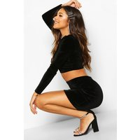 Womens Velvet Mini Skirt - black - 16, Black