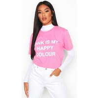 Womens My Happy Colour Charity T-Shirt - Pink - 10/12, Pink
