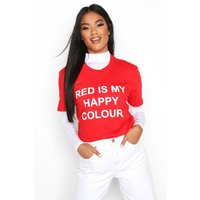Womens My Happy Colour Charity T-Shirt - red - 22-24, Red