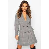 Check Double Breasted Button Blazer Dress - grey - 10, Grey