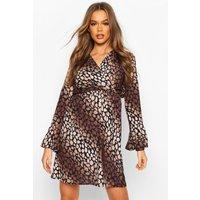 Womens Leopard Print Flared Sleeve Tea Dress - Brown - 8, Brown