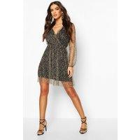 Womens Leopard Mesh Wrap Skater Dress - brown - 12, Brown