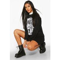 Womens Drop Shoulder Graphic T-Shirt Dress - black - 8, Black