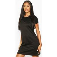 Womens Stripe T-Shirt Layered Slip Dress - black - 8, Black