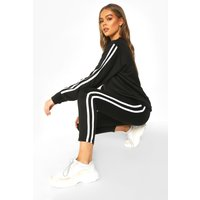 Womens Side Stripe Sweat Jogger Set - black - 14, Black