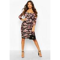 Womens Floral Off Shoulder Ruched Mesh Bodycon Midi Dress - black - 6, Black