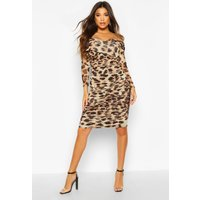 Womens Leopard Off Shoulder Ruched Mesh Bodycon Midi Dress - brown - 10, Brown