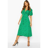 Womens Woven Spot Print Puff Sleeve Midi Dress - green - 10, Green