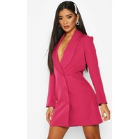 Womens Button Down Longline Blazer Dress - Pink - 12, Pink