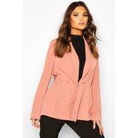 Womens Drawstring Slouchy Blazer - pink - 8, Pink