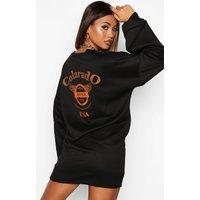 Colarado Graphic Extreme Sleeve V-neck Sweatshirt Dress - black - 10, Black