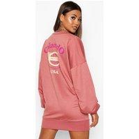 Colarado Graphic Extreme Sleeve V-neck Sweatshirt Dress - pink - 10, Pink