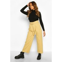 Womens O Ring Belted Wide Leg Utility Trousers - beige - S, Beige