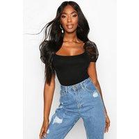 Womens Organza Sleeve Scoop Back Bodysuit - Black - 6, Black