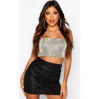 Womens Glitter Mini Polka Dot Ruched Skirt - black - 16, Black