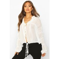 Womens Ruched Ruffle Neck Blouse - white - 12, White
