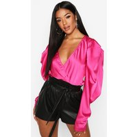 Womens Satin Puff Sleeve Wrap Front Bodysuit - Pink - 8, Pink