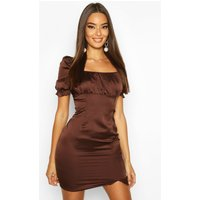 Satin Puff Sleeve Square Neck Bodycon Mini Dress - brown - 10, Brown