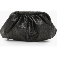 'Womens Slouchy Mini Weave Clutch Bag - Black - One Size, Black