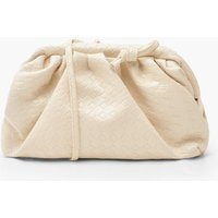 'Womens Slouchy Mini Weave Clutch Bag - White - One Size, White