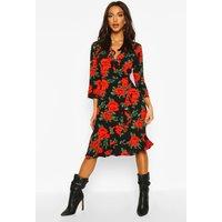 Womens Woven Rose Print Ruffle Midi Tea Dress - black - 16, Black