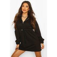 Womens Tonal Hooded Oversized Dress - black - 8, Black