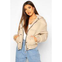 Womens Hooded Short Puffer Jacket - beige - 12, Beige