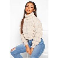 Womens Bubble Knit roll/polo neck Jumper - beige - L, Beige