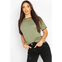 Womens Rib Leopard Ringer T-Shirt - Green - 6, Green