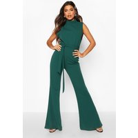 Womens High Neck Plunge Side Wide Leg Jumpsuit - green - 16, Green