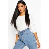 Womens Ruched Puff Sleeve Bodysuit - white - 12, White