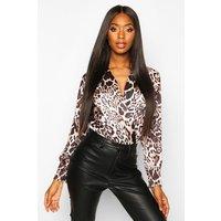 Womens Leopard Print Wrap Bodysuit - multi - 12, Multi