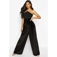 Womens Tie Waist Wide Leg Velvet Trousers - black - 10, Black